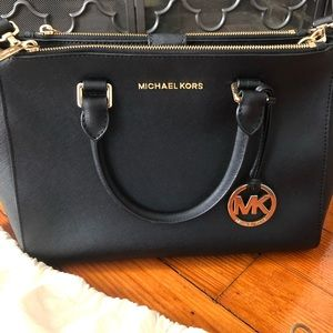 Michael Kors Black Large Leather Satchel